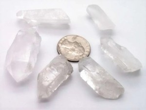 Small natural quartz points with quarter for sizing.