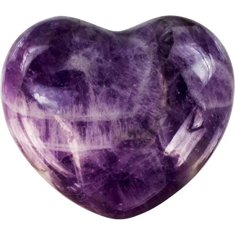 Carved gemstone heart - chevron amethyst.