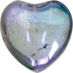 Carved gemstone heart - hematite.