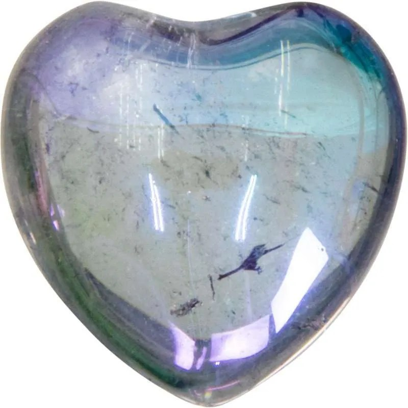 Carved gemstone heart - hematite.
