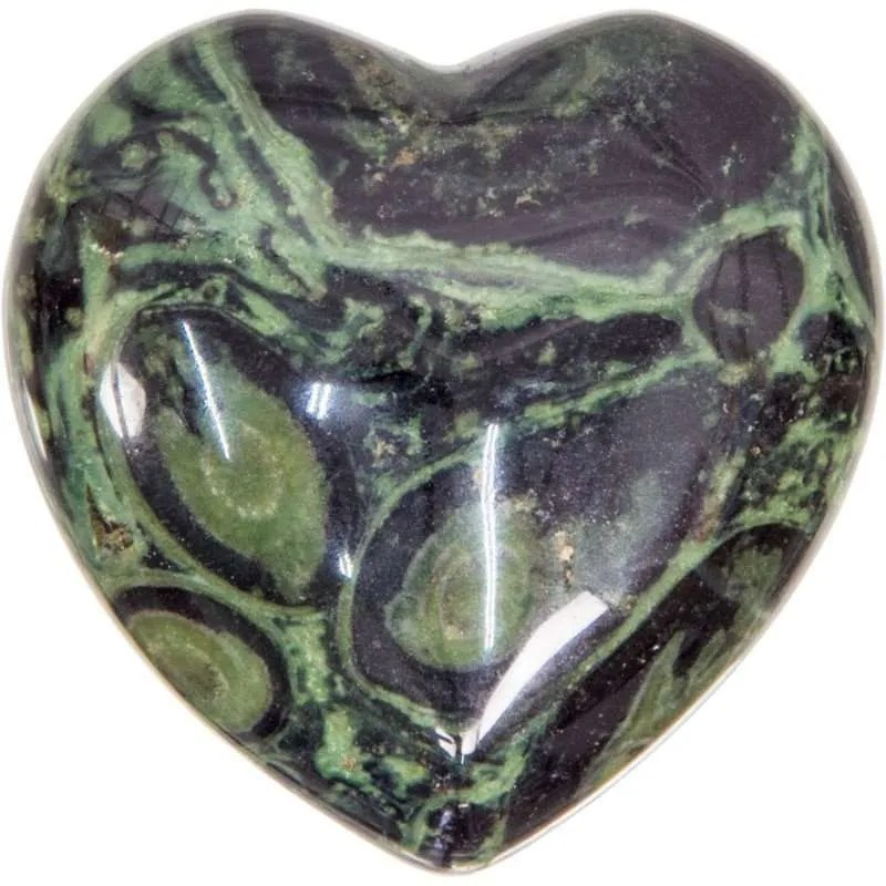 Carved gemstone heart - kambaba jasper.