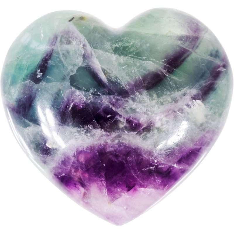 Carved gemstone heart - rainbow fluorite.