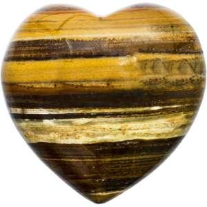 Carved gemstone heart - tiger's eye.