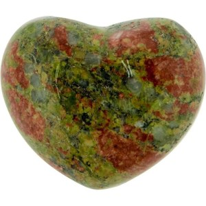 Carved gemstone heart - unakite.