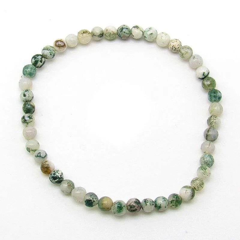 Tree Agate 4mm Bead Bracelet.