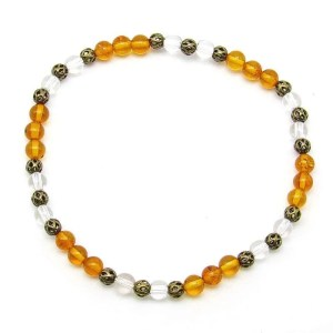 Amber and quartz 4mm bead bracelet.