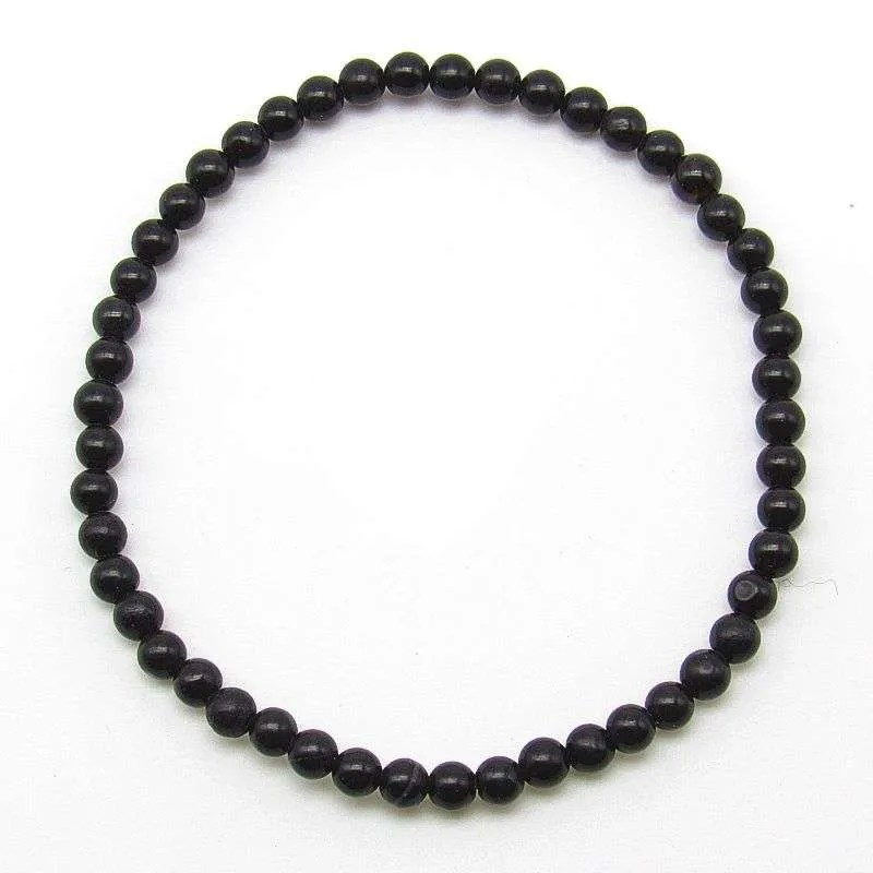 Black obsidian 4mm bead bracelet.