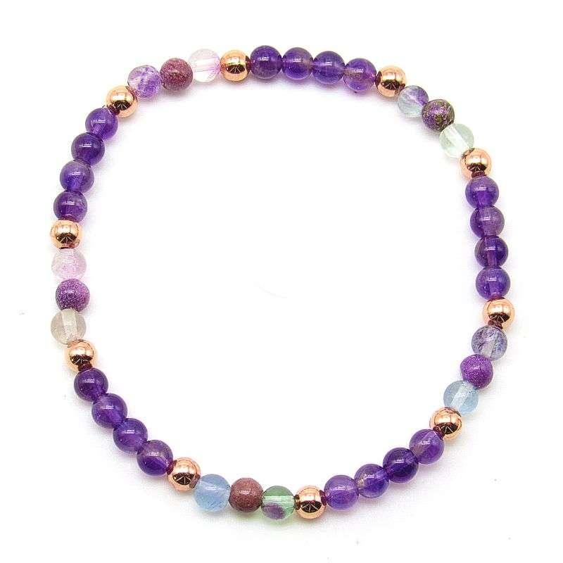 4mm chakra bead bracelet - crown chakra