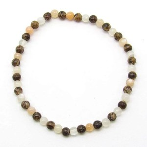 Moonstone and turritella agate 4mm bead bracelet