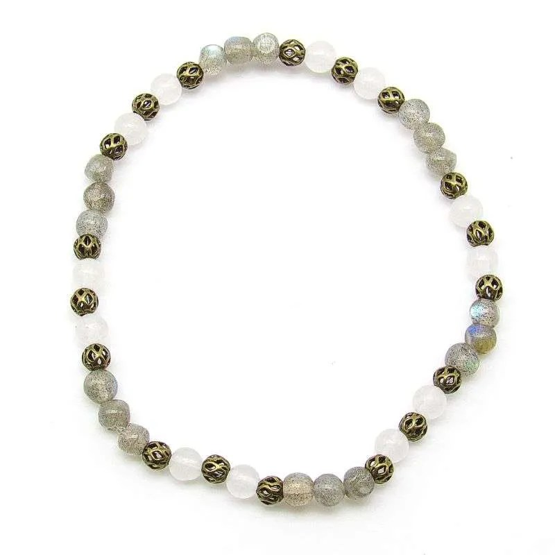Labradorite and snow quartz 4mm bead bracelet