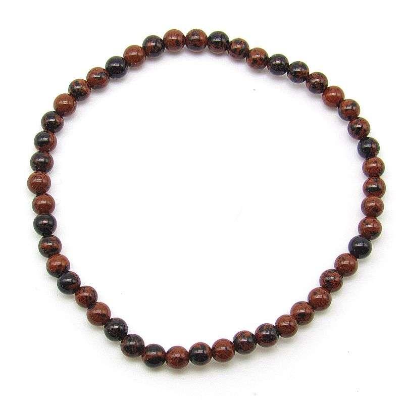 Mahogany obsidian 4mm bead bracelet