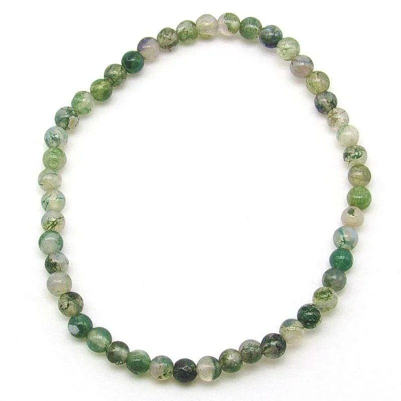 Moss agate 4mm bead bracelet