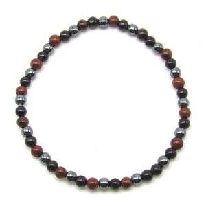 Tourmaline, hematite and mahogany obsidian 4mm bead bracelet.
