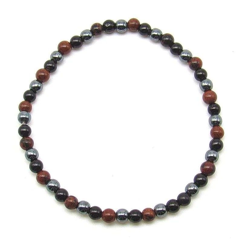 Tourmaline, hematite and mahogany obsidian 4mm bead bracelet.