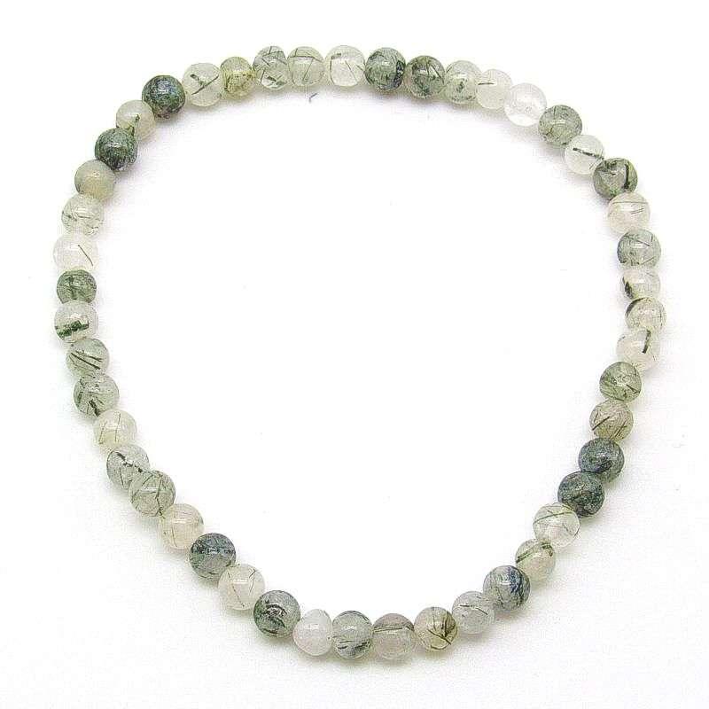 Tourmalinated quartz 4mm bead bracelet.