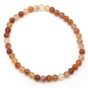 Red rutilated quartz 4mm bead bracelet.