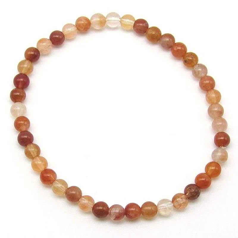 Red rutilated quartz 4mm bead bracelet.