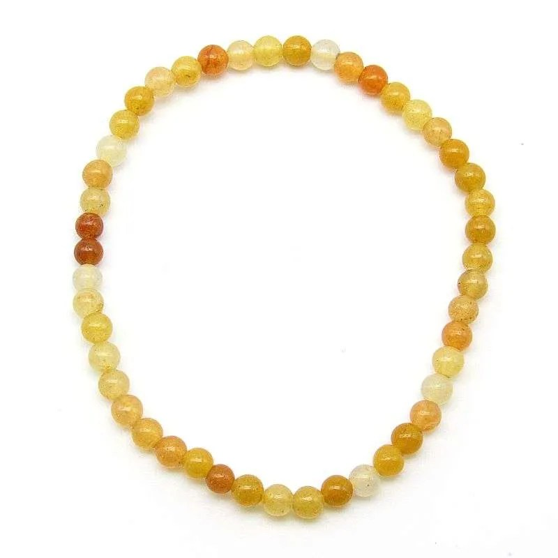 Yellow quartz 4mm bead bracelet.