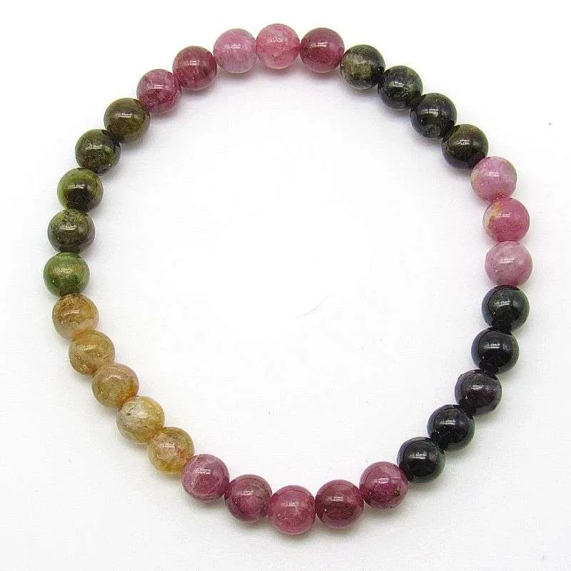 Multi-tourmaline 5-6mm bead bracelet.