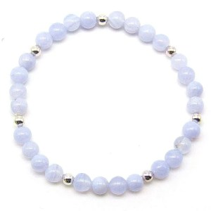 Blue lace agate 6mm bead bracelet with 4mm silver plated beads
