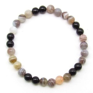 Botswana agate and black obsidian 6mm bead bracelet