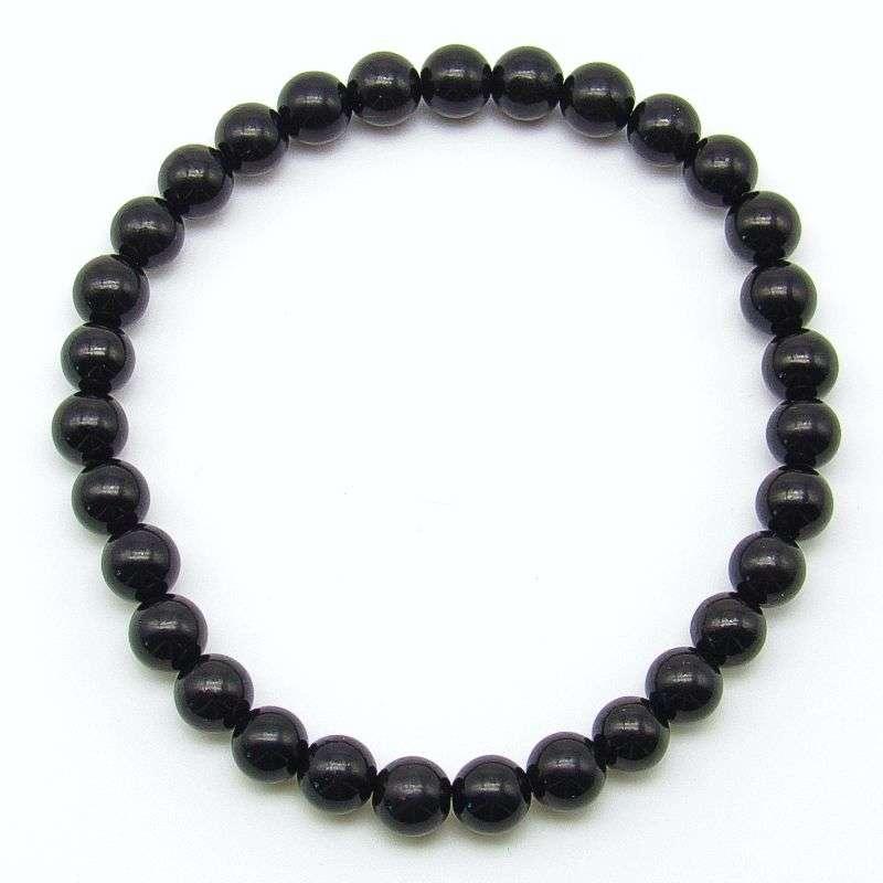 Jet 6mm bead bracelet