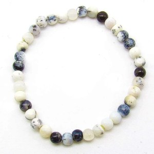 Dendritic opal 6mm bead bracelet
