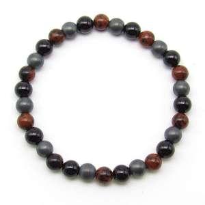 Black obsidian, mahogany obsidian and hematite 6mm bead bracelet