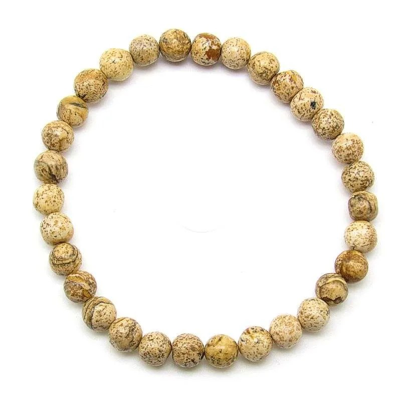 Picture jasper 6mm bead bracelet