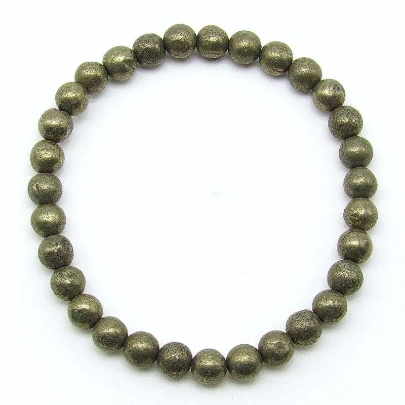 Pyrite 6mm bead bracelet