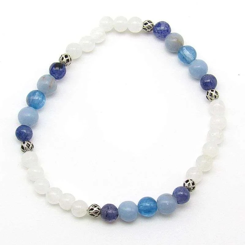 Rainbow moonstone, iolite, angelite and blue kyanite 6mm bead bracelet