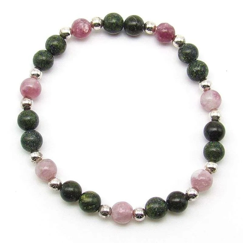 Serpentine and lepidolite 6mm bead bracelet