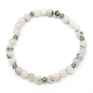 Embellished toumalinated quartz 6mm bead bracelet