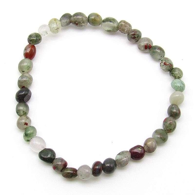 African bloodstone small pebble bead bracelet
