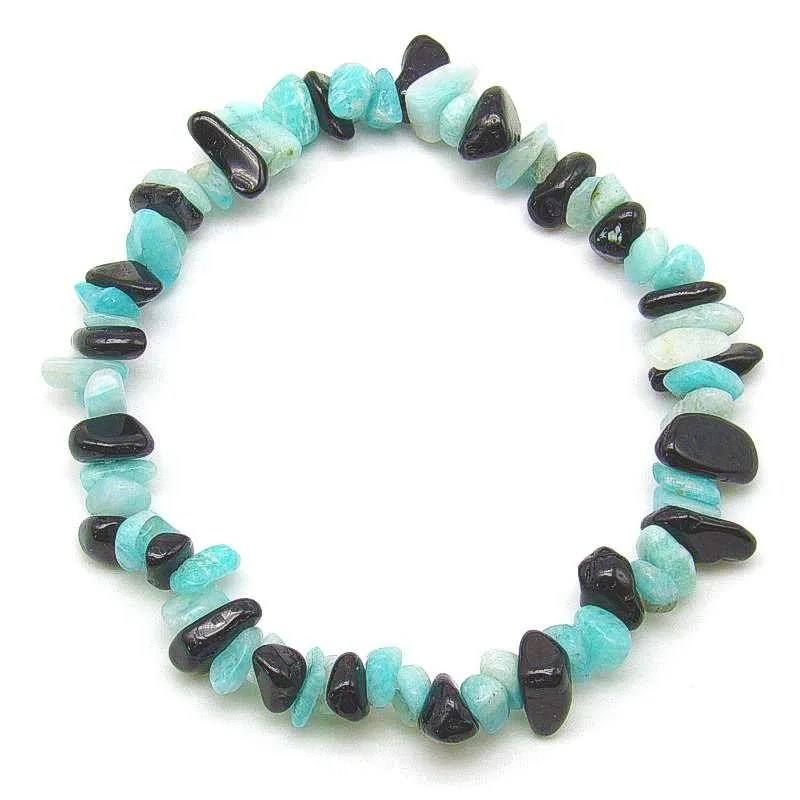 Amazonite and black tourmaline chip bracelet.