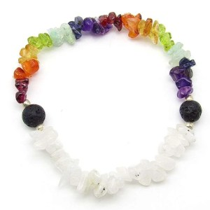 7 chakra chip bead bracelet with moonstone and lava stone.
