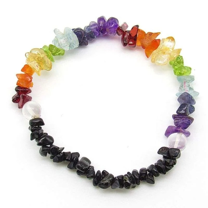 7 chakra chip bead bracelet with tourmaline and quartz.
