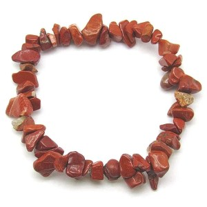 Red jasper polished chip bracelet.