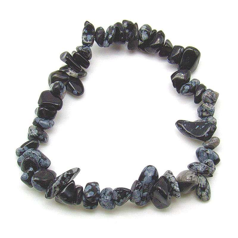Snowflake obsidian chip bracelet.