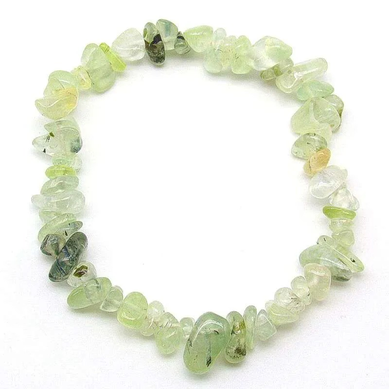 Prehnite small to medium chip bracelet.