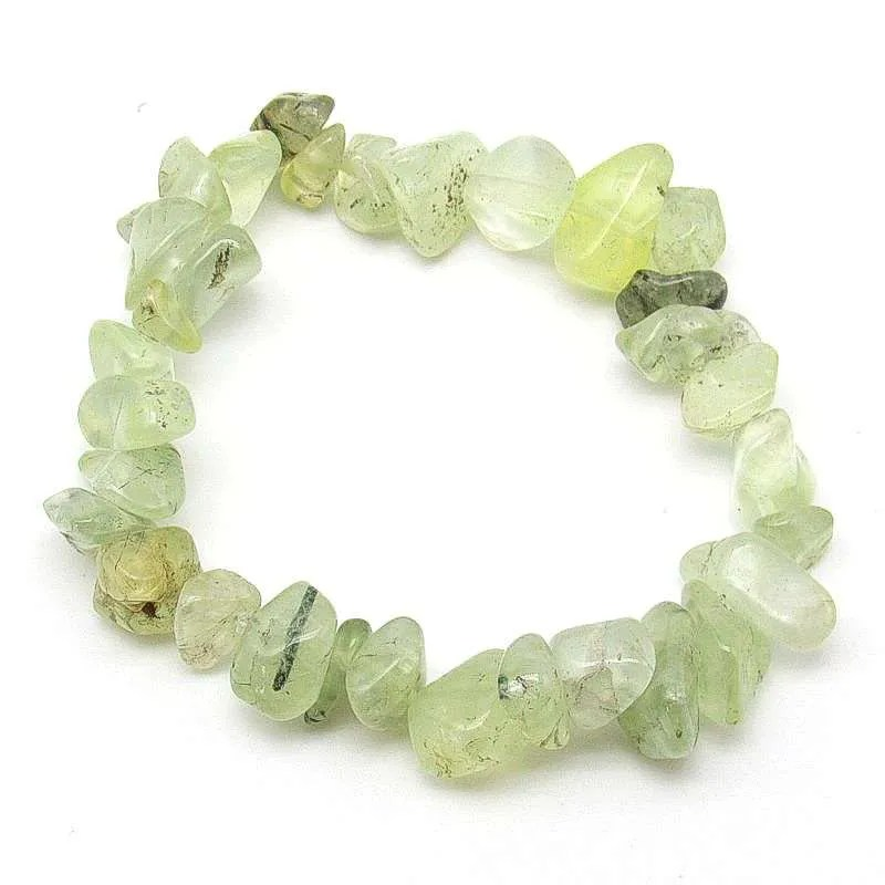 Prehnite medium to large chip bracelet.