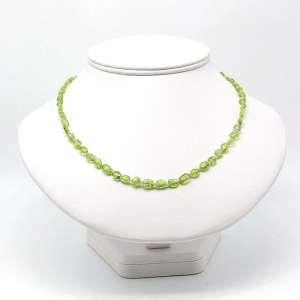 """18"""" peridot flat oval bead necklace."""