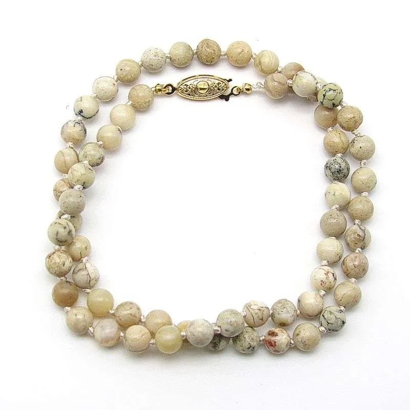 "18"" moss opal 6mm round bead necklace."