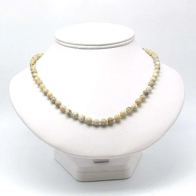 """18"""" moss opal 6mm round bead necklace."""