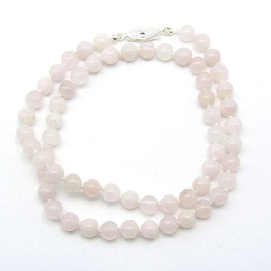 "18"" rose quartz 6mm round bead necklace."