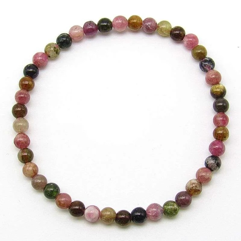 Multi-tourmaline 4mm bead bracelet
