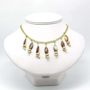 Creamy brown multiple bead drop necklace