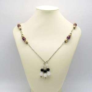 "Obsidian & snow quartz bead drops on a decorative 24"" chain"