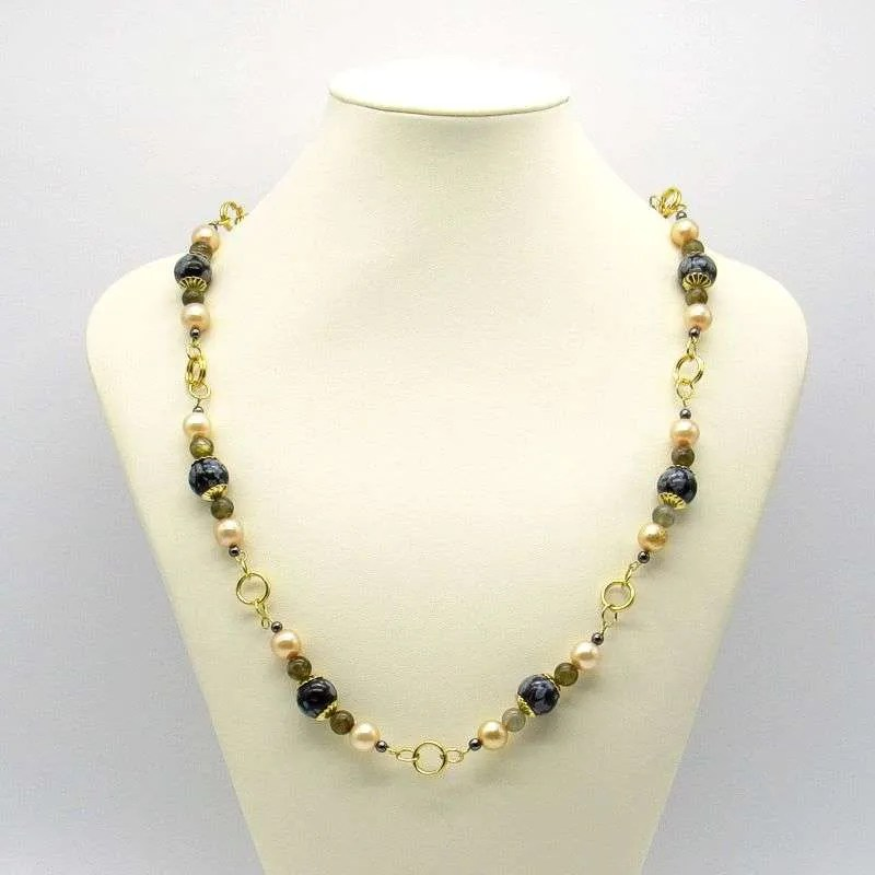 Snowflake obsidian and Labradorite pearls necklace