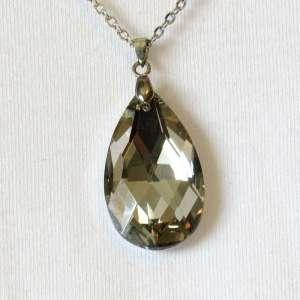 Faceted crystal teardrop closeup